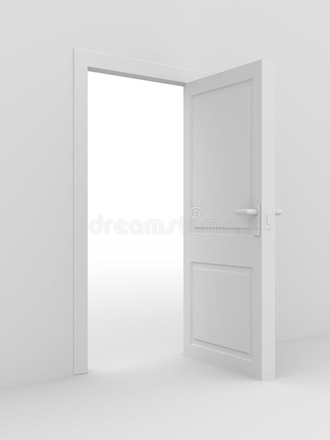 White open door. 3D image royalty free illustration