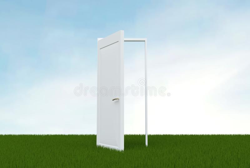 White open door in a field of green grass, clear blue sky on the background.  Concept of dream fulfillment. The idea of  royalty free illustration