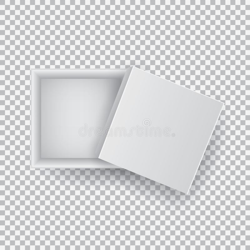 White open empty squares cardboard box isolated on transparent background top view. Mockup template for design products. Package, branding, advertising. Vector stock illustration