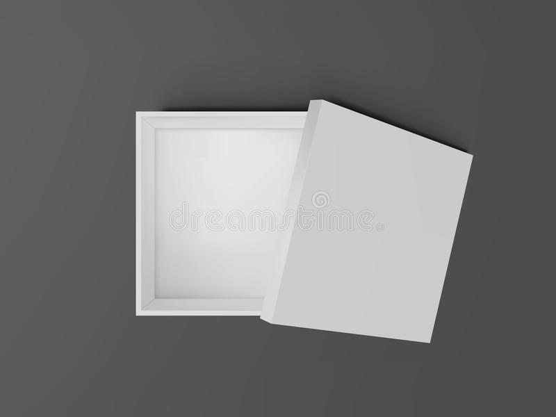 White open empty squares cardboard box top view. Mockup template for design products, package, branding, advertising. Vector i. Llustration royalty free illustration
