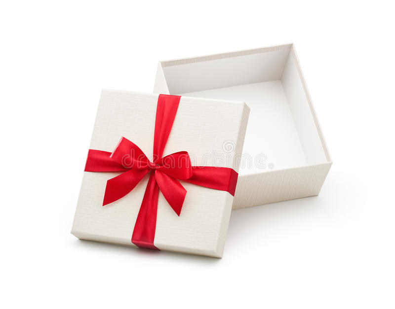 White Open Gift Box With Red Bow. Isolated on white background - Clipping path included royalty free stock photography