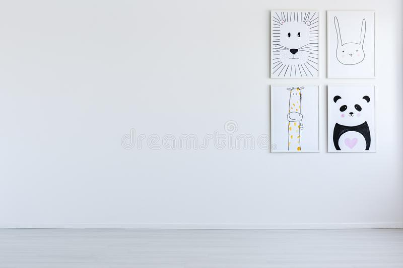 White open interior with drawings stock images