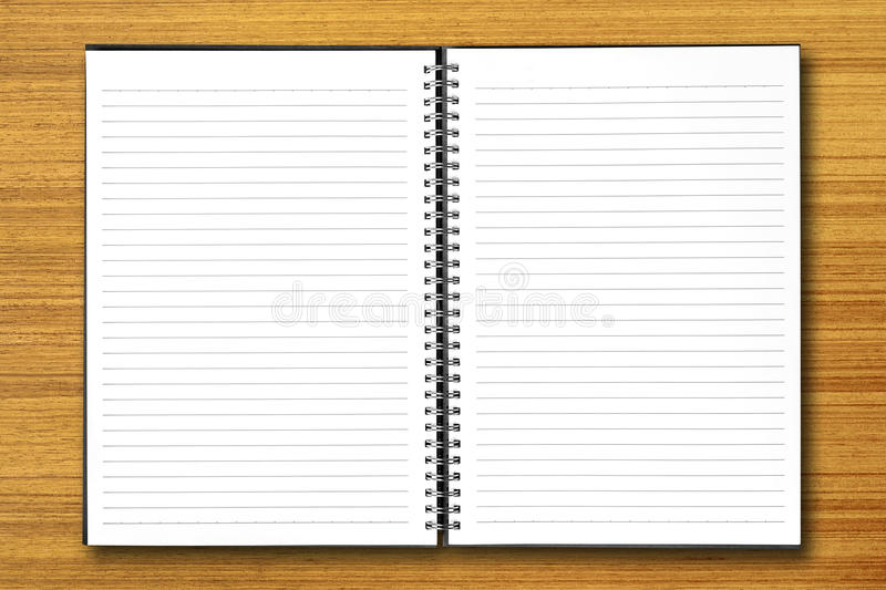 White Open Notebook On Wood Stock Image - Image of message