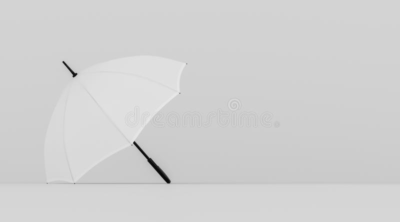 White open umbrella on light gray background, copy space, high contrast, horizontal billboard poster. 3d rendering, 3d illustration vector illustration