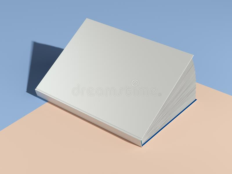 White opened book with blank cover on multicolored background. 3d rendering. royalty free illustration