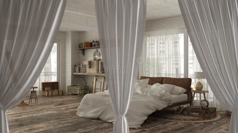 White openings curtains overlay classic bedroom, interior design background, front view, clipping path, vertical folds, soft tulle. Textile texture, stage royalty free stock photos
