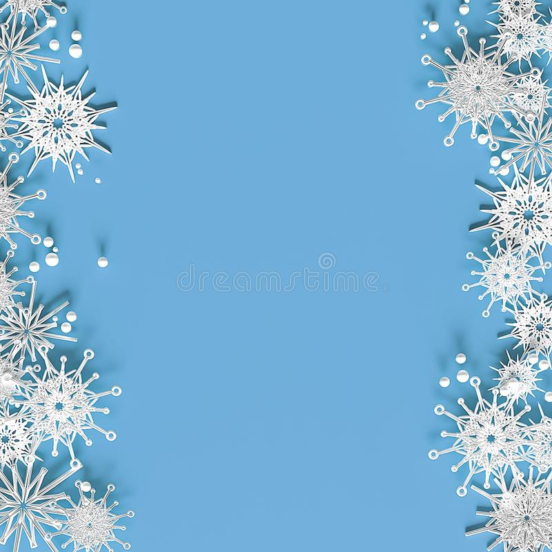White openwork volumetric snowflakes on a light blue background. Beautiful Christmas 3D greeting card.  royalty free stock images