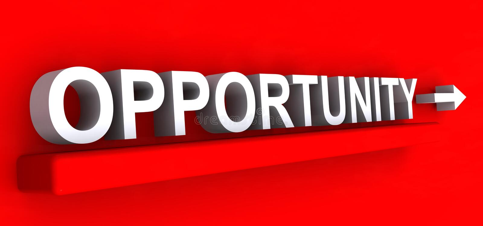 Opportunity heading. White opportunity heading on red background royalty free illustration