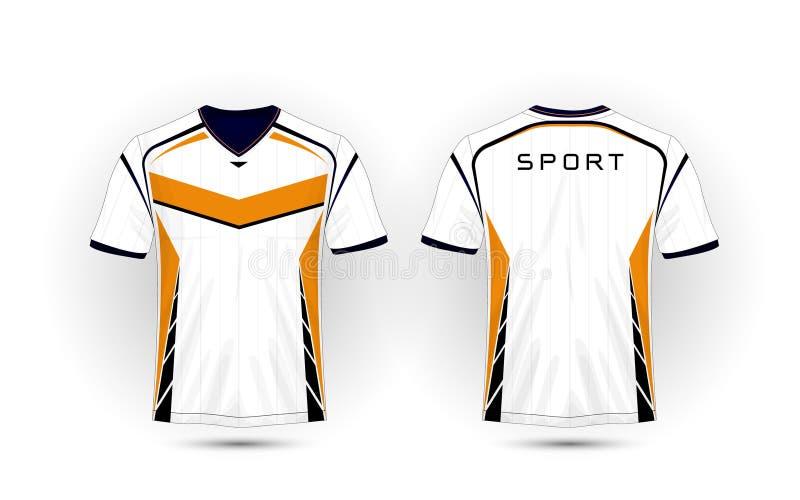 White, orange and black layout football sport t-shirt, kits, jersey, shirt design template. Illustration vector stock illustration