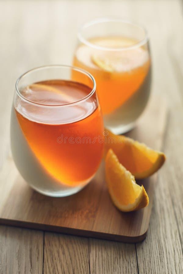 White and orange fruit jelly stock photography