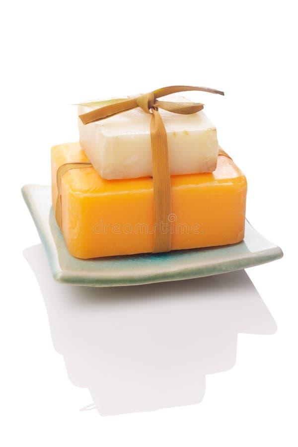 White And Orange Soaps Royalty Free Stock Photos