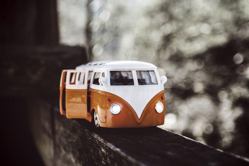 White Orange Van Scale Model stock image