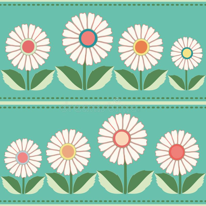 White, orange, yellow floral folk pattern. Seamless vector pattern with horizontal striped stitch on blue background vector illustration