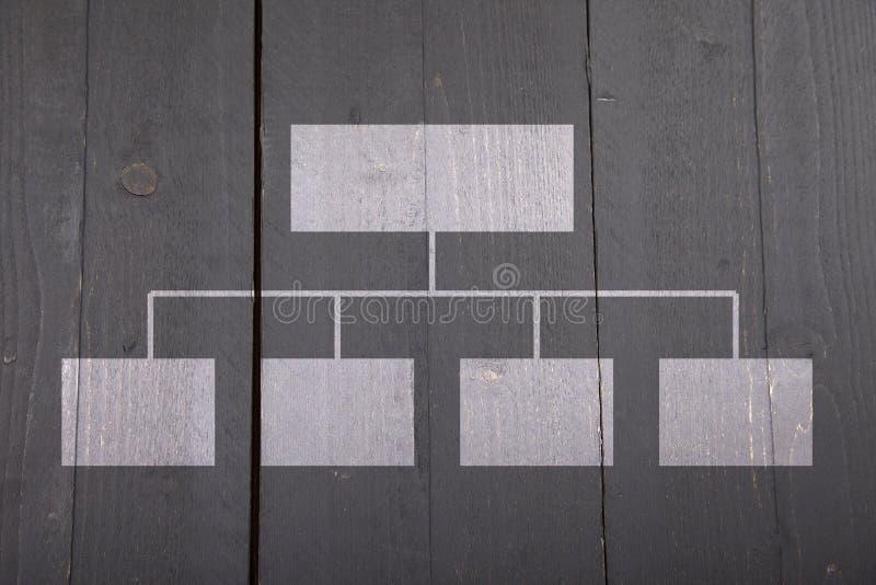 White organigram on wooden background. White organigram on black wooden background royalty free stock photo
