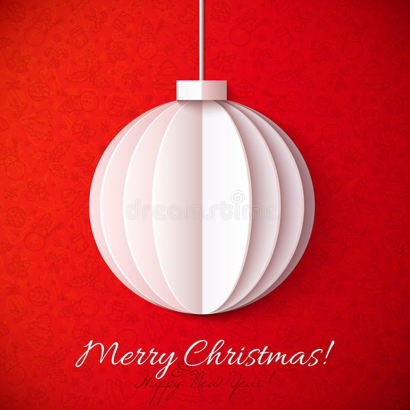 White origami paper vector Christmas ball royalty free illustration