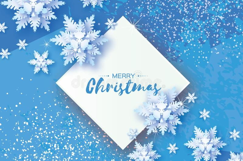 White Origami Snowfall. Merry Christmas Greetings card. White Paper cut snow flake. Happy New Year. Winter snowflakes. Rhombus frame. Space for text. Holidays stock illustration