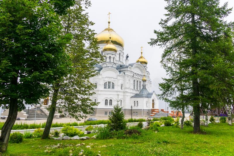 Orthodox Church on white mountain in the Perm region royalty free stock images