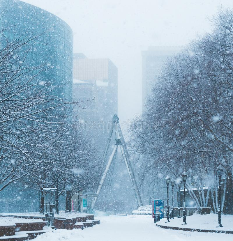 Blizzard Nor`easter march 13 2018 in Hartford Connecticut New England royalty free stock image
