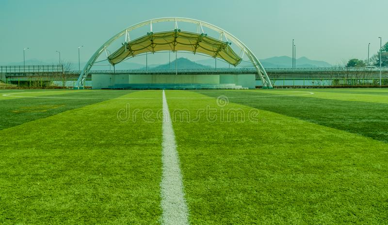 White outdoor covered theater stage royalty free stock image