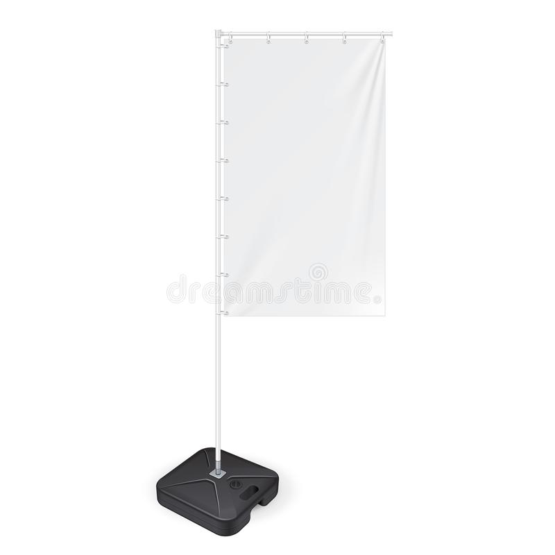 White Outdoor Panel Flag With Ground Fillable Water Base, Stander Advertising Banner Shield. Mock Up Isolated. White Outdoor Panel Flag With Ground Fillable stock illustration