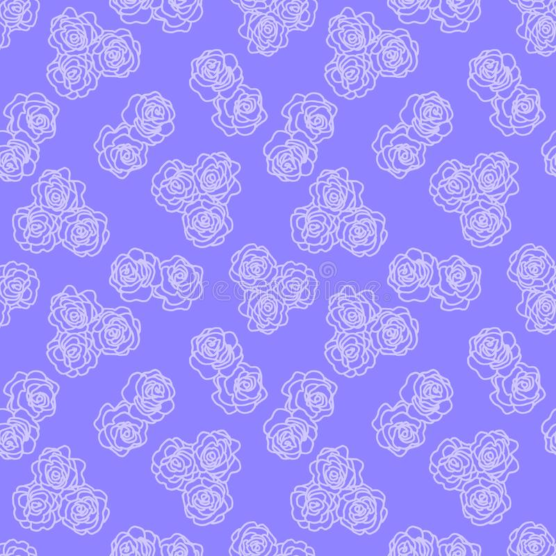 The white outline of a flower on purple seamless background. Vintage texture. Retro style background. Decorative floral stock illustration