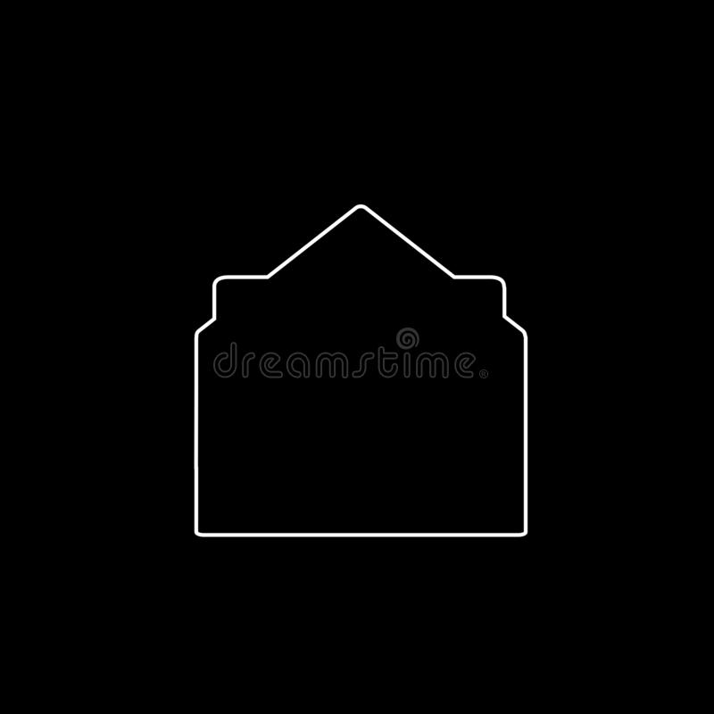 White Outline Icon Of Open Envelope With Document On Black ...