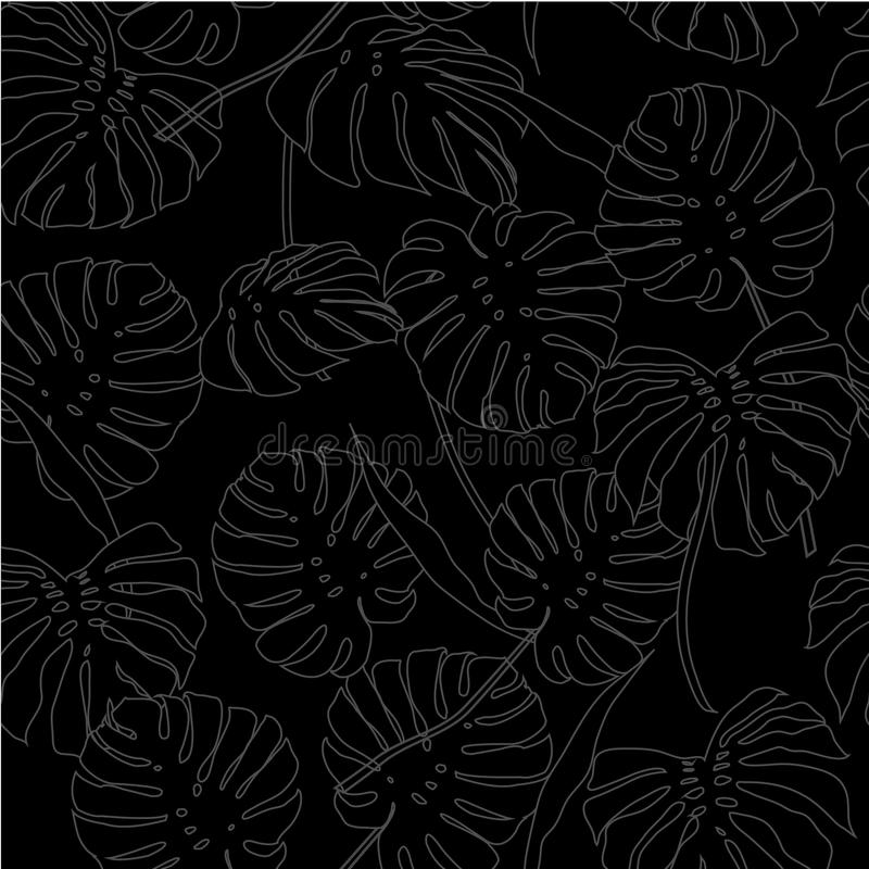 White outline palm leaves on the light black background stock illustration