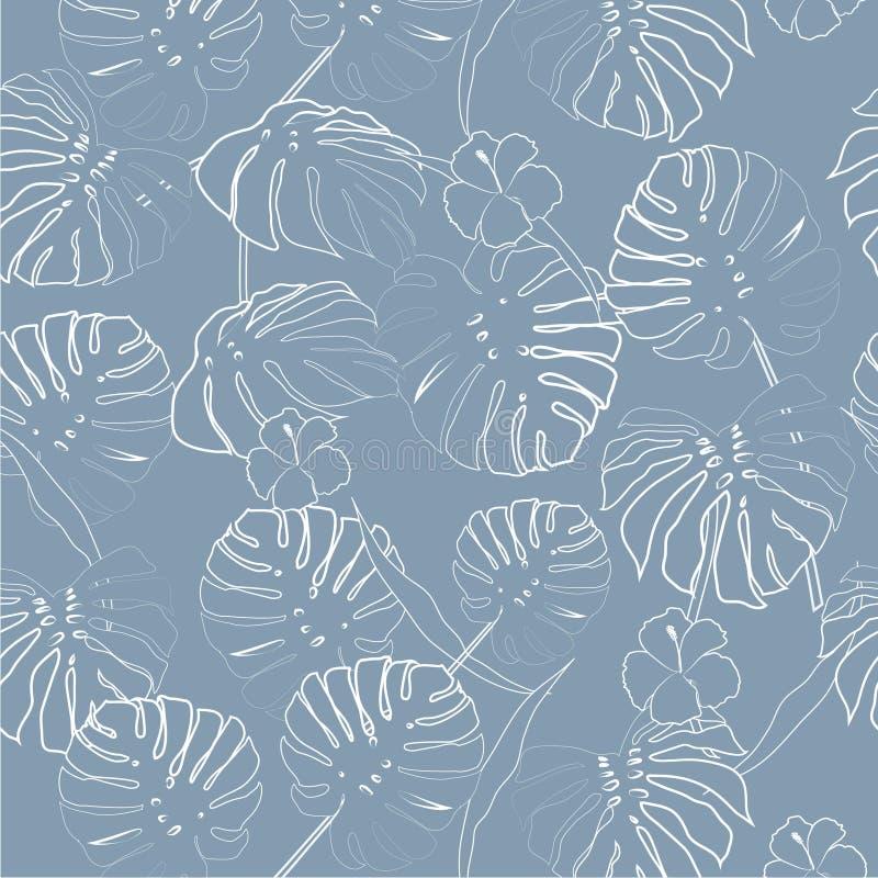 White outline palm leaves on the light blue background. vector illustration