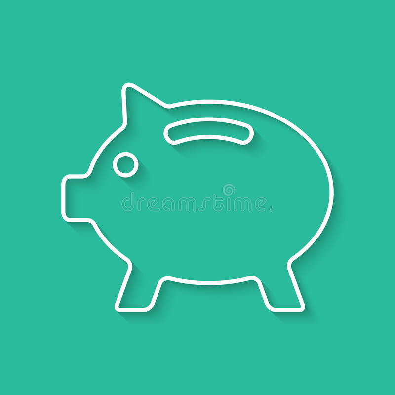 White outline piggy bank with shadow. Concept of poverty, deposit policy, nest egg, money for a rainy day and thrift. on green background. flat style modern royalty free illustration