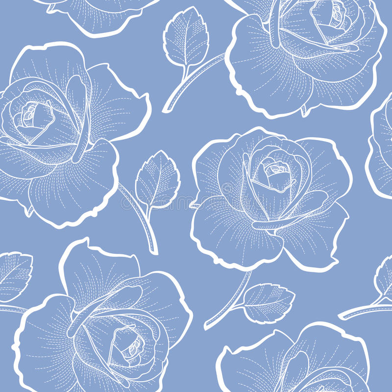 White outline roses on blue seamless pattern royalty free illustration