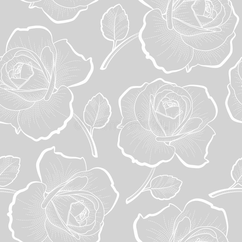 White outline roses on gray seamless pattern royalty free illustration