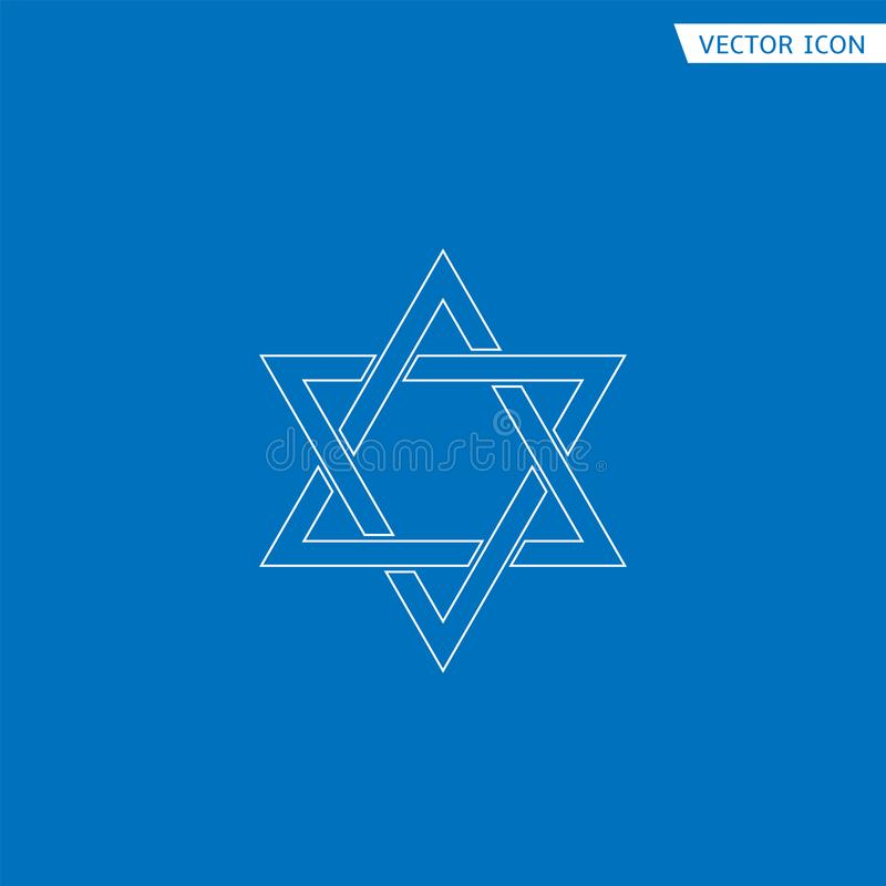 Star of David icon. White outline Star of David icon. Generally recognized symbol of modern Jewish identity and Judaism, Israel symbol royalty free illustration