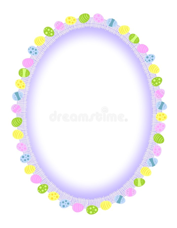 White Oval Easter Eggs Frame or Border stock photography