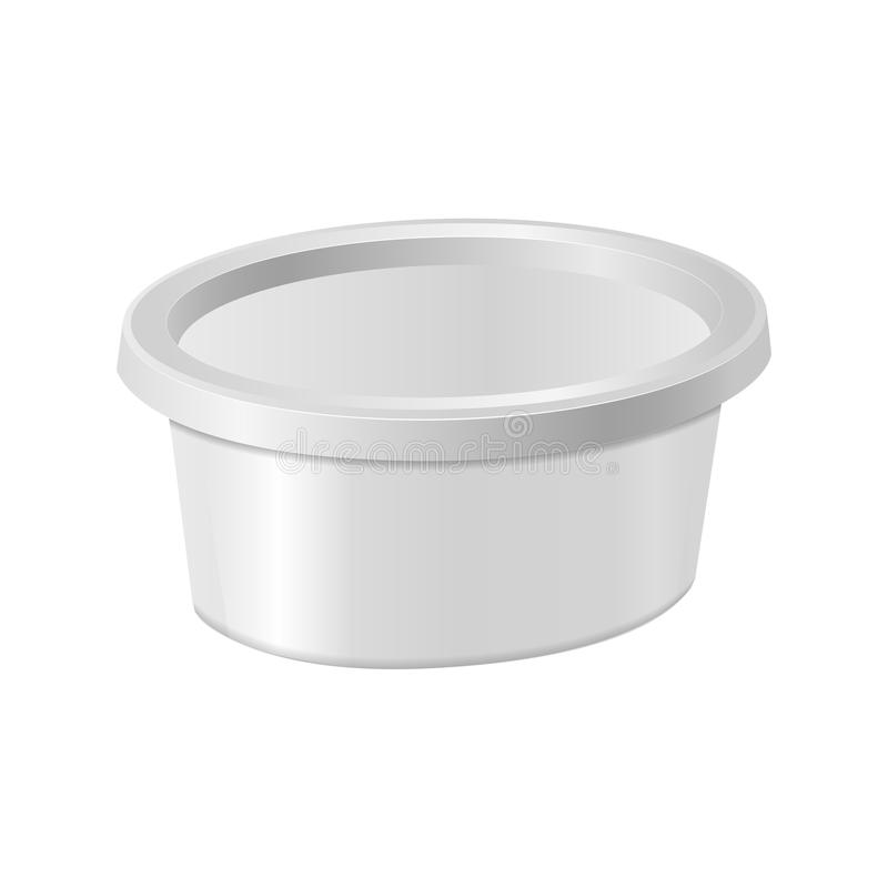 White oval plastic box for your design and logo. Mock up for cheese, cream cheese, butter, etc. Side view. Vector stock illustration