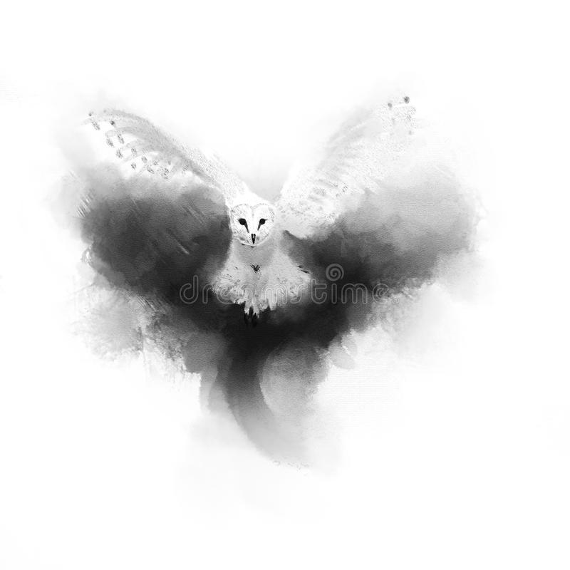White Owl in flight above the smoke. royalty free stock photos