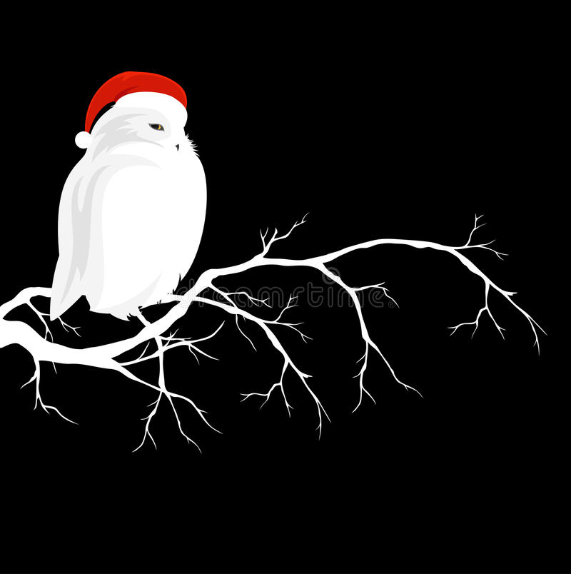 White owl wearing red christmas hat sitting on branch vector illustration