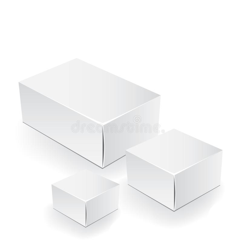 White package box. Packaging mock up template. Good for a food, electronics, software, cosmetics design and other products. Vector. Illustrated royalty free illustration