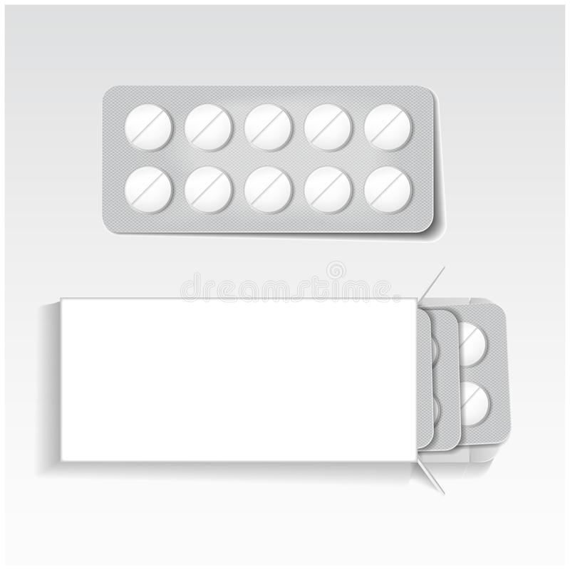 White package with tablets, blisters pack medicines mock up vector template. Painkillers, antibiotics, vitamins, aspirin. Tablets for your design vector illustration