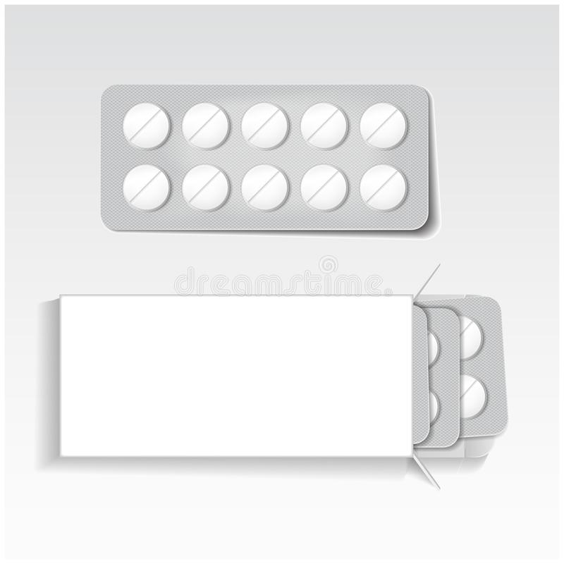 White package with tablets, blisters pack medicines mock up vector template. Painkillers, antibiotics, vitamins, aspirin. Tablets for your design royalty free illustration