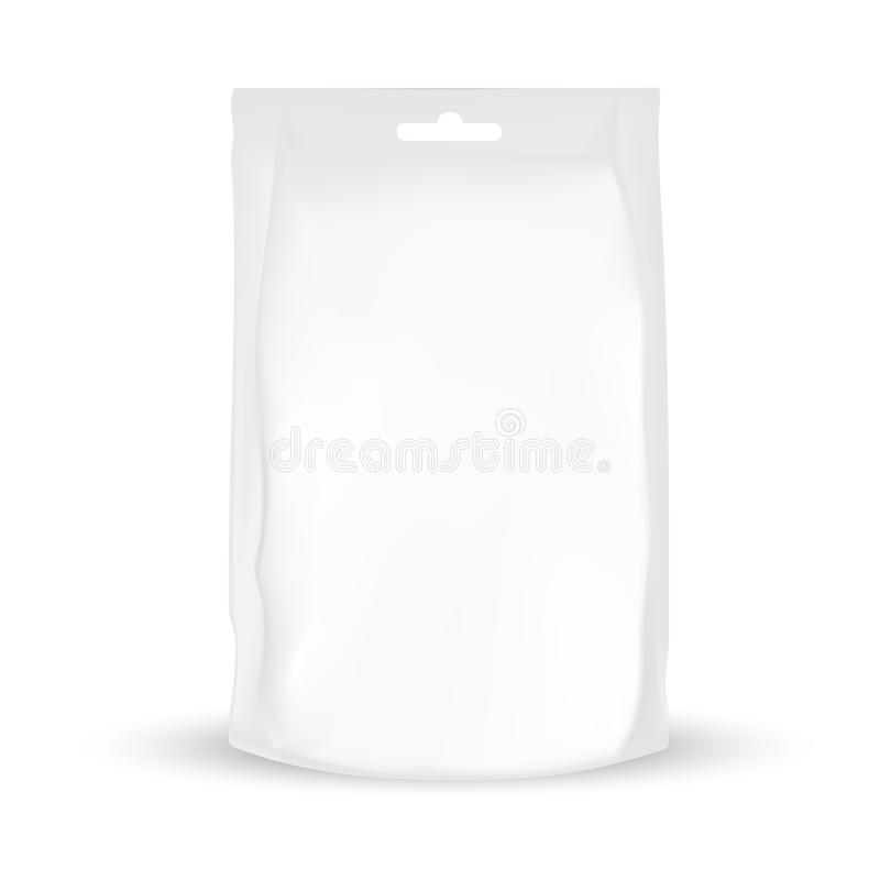 White packaging bag with hole to hang. VECTOR PACKAGING: White packaging bag with hole to hang for snack or take away, bulk products, tea, coffee, spices on royalty free illustration