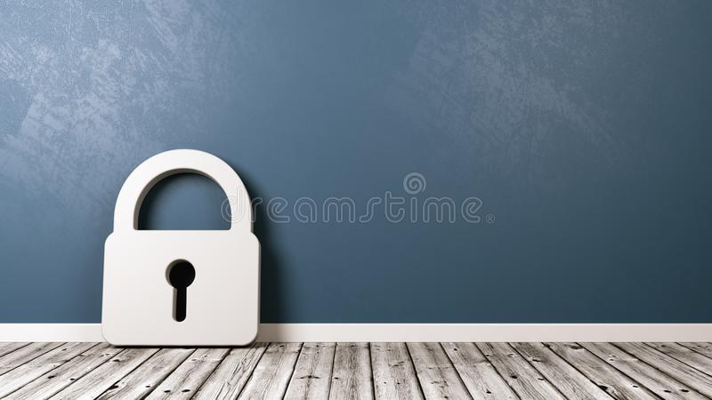 Padlock Symbol in the Room. White Padlock Symbol Shape on Wooden Floor Against Blue Wall with Copy Space 3D Illustration vector illustration