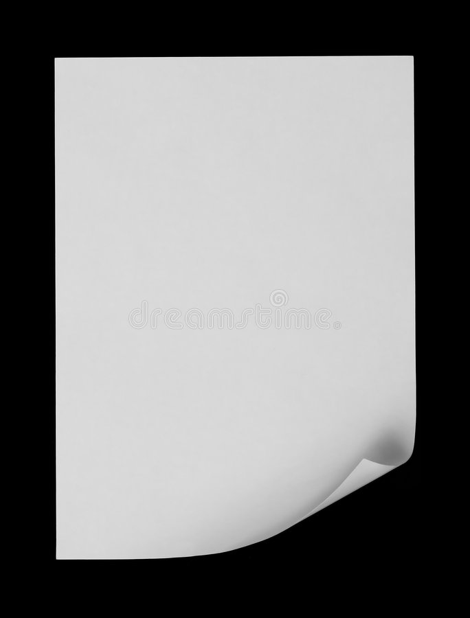 White Page. On black background stock image