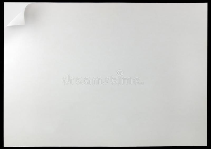White Page Curl Background, isolated on black, large detailed horizontal copy space, office paper corner fold turn. White Page Curl Background, isolated on black royalty free illustration