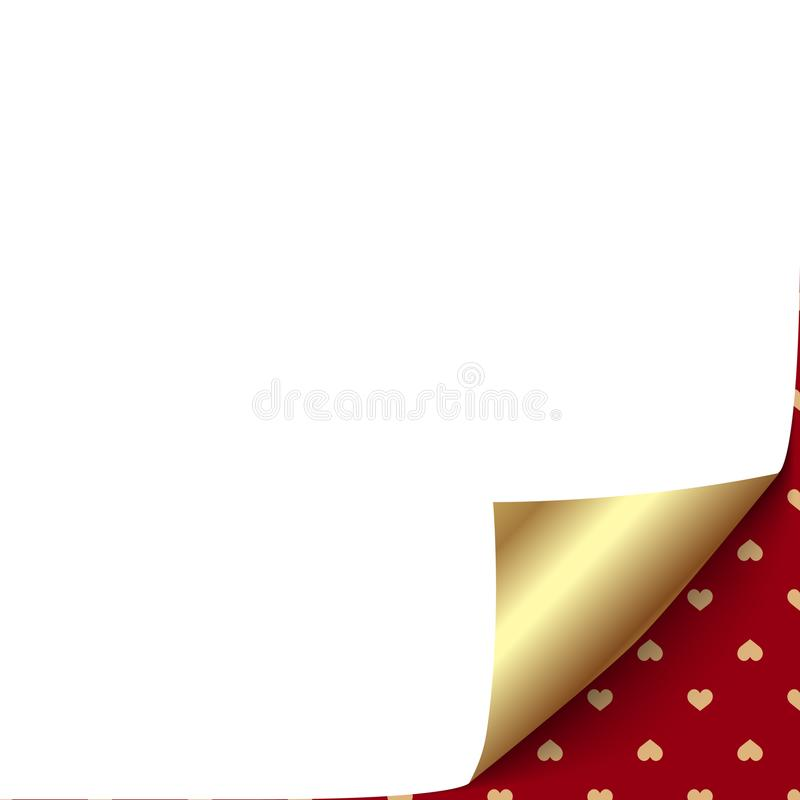 White page with curved gold corner and hearts. Vector vector illustration