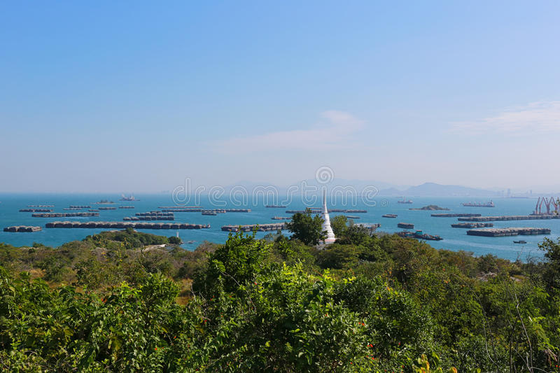 White pagoda of Chulachomklao in Ko Sichang at Chonburi province. Famous tourist attractions in Thailand stock photo