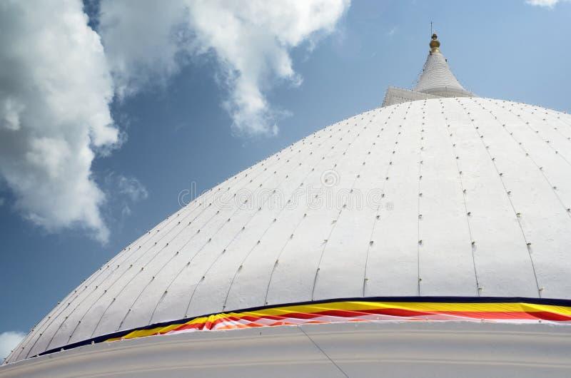White Pagoda. Pagoda with clear sky day stock image