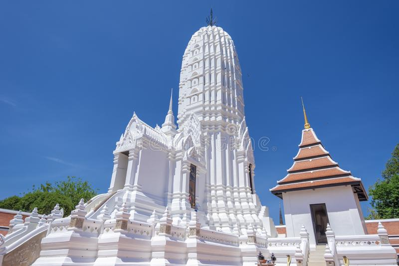 White Pagoda. In Ayutthaya Province of Thailand royalty free stock photography