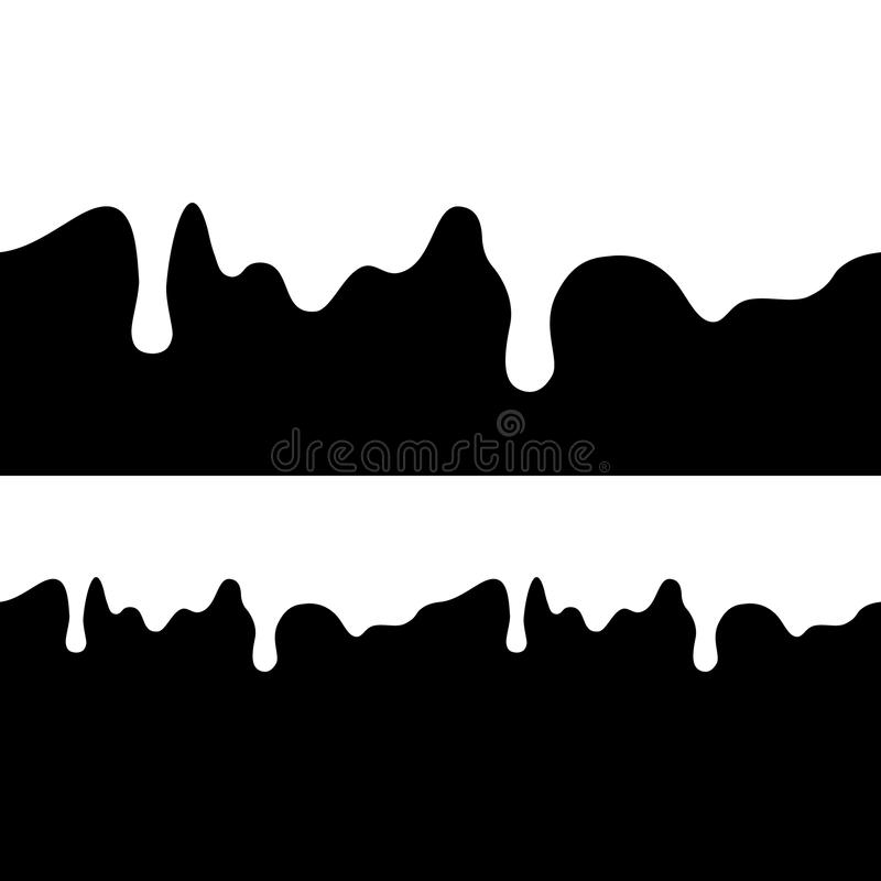 White paint dripping. abstract blob. Black background. royalty free illustration