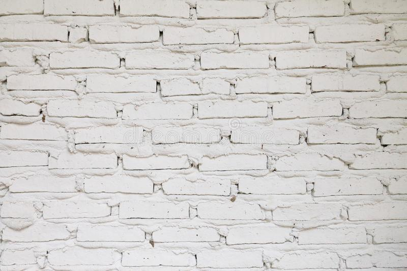 Simple white paint rustic brick wall for background texture design royalty free stock photos