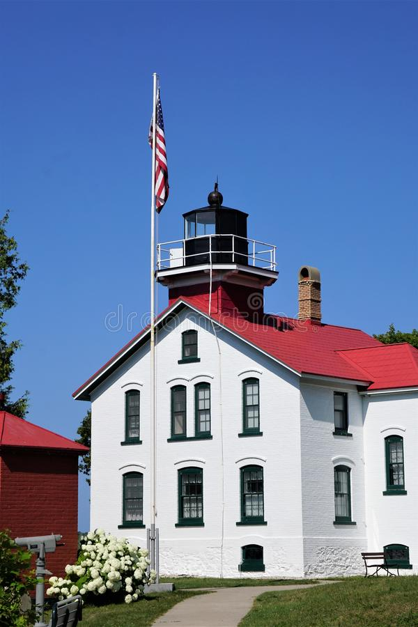 Grand Traverse Lighthouse Northport Michigan August 2019 royalty free stock photo